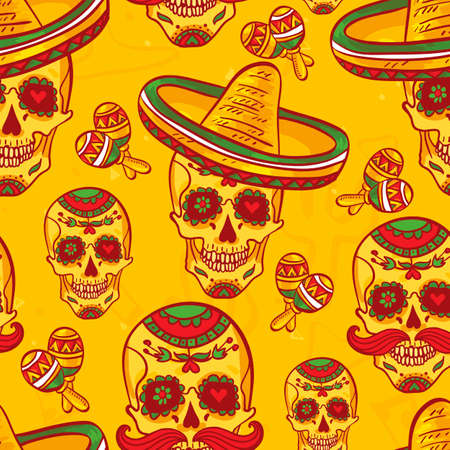 Skull in sombrero Day of The Dead Vector