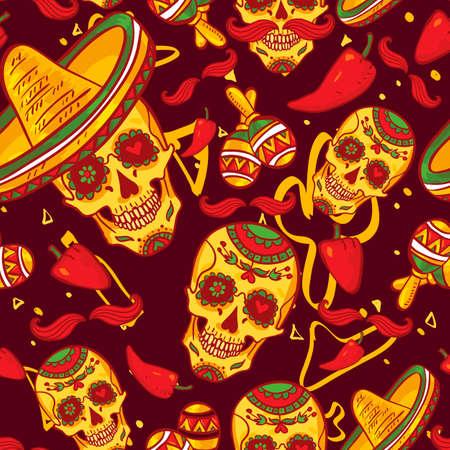 Skull in sombrero Day of The Dead photo