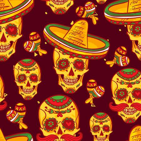 dia de muerto: Cráneo en sombrero día de los muertos Vectores