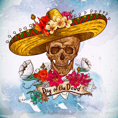 Skull in sombrero with flowers Day of The Dead Stock Vector - 24906725