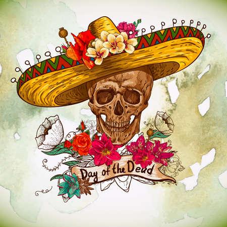 morto: Crânio no sombrero com flores dia dos mortos