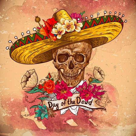 mexican sombrero: Cranio in sombrero con fiori Day of The Dead Vettoriali