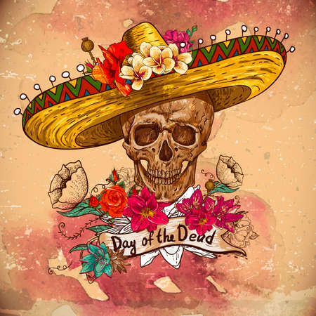 sugar skull: Skull in sombrero with flowers Day of The Dead