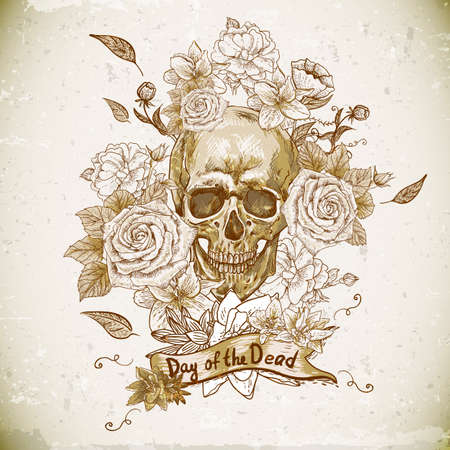 skull tattoo: Skull with Roses Day of The Dead Illustration
