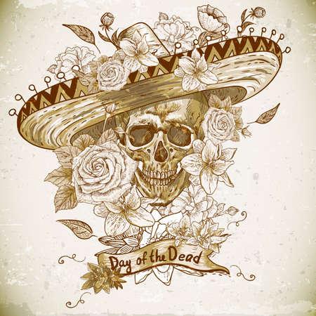 day of the dead: Cr�neo en sombrero con flores en el d�a de los muertos