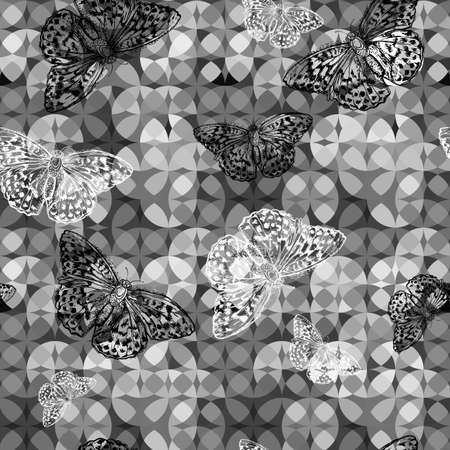 Seamless monochrome floral background with butterflies Vector