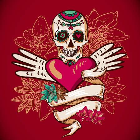 dode bladeren: Schedel, harten en bloemen vector illustratie Stock Illustratie