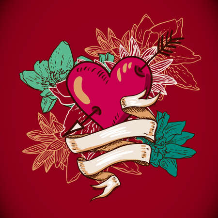 Hearts and Flowers Vector Illustration Vector