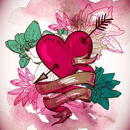 dessin fleur: Coeurs et illustration vectorielle fleurs