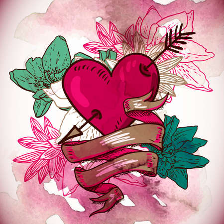 Hearts and Flowers Vector Illustration Illustration