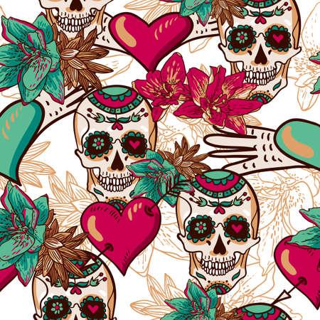 Cráneo, corazones y flores sin fisuras de fondo