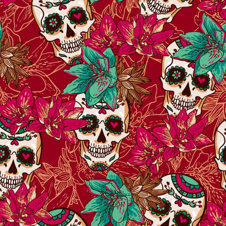 Skull, Hearts and Flowers Seamless Background Vector