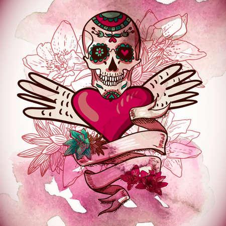Skull, Hearts and Flowers Vector Illustration Vector