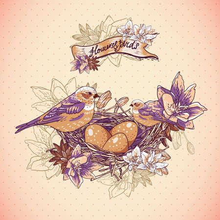 birds nest: Vintage floral background with birds and nest