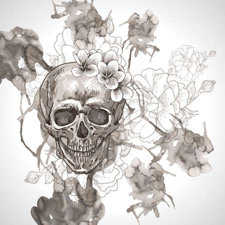 calavera: Abstract Background with Skull, Wings and Flowers Illustration