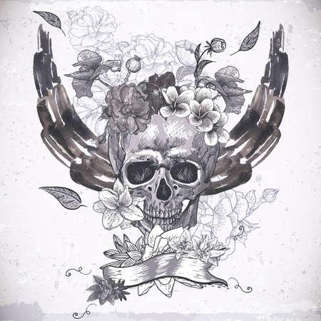 죽은: 두개골, 날개와 꽃 추상적 인 배경 일러스트