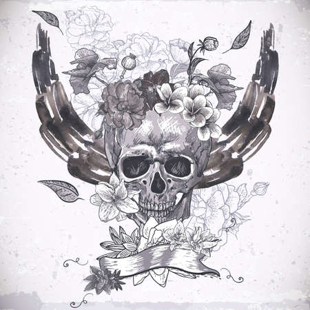 deaths head: Abstract Background with Skull, Wings and Flowers Illustration