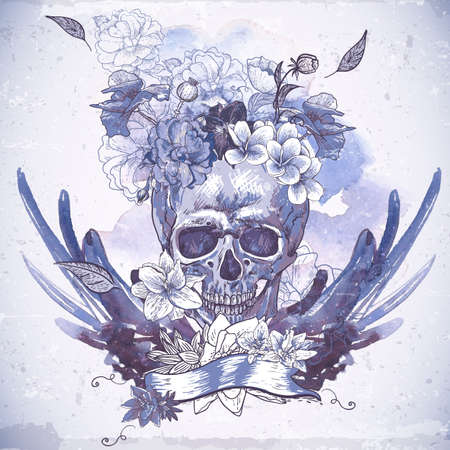 voodoo: Abstract Background with Skull, Wings and Flowers Illustration
