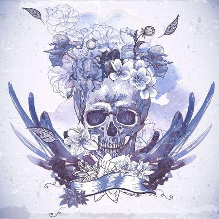 morte: Fundo abstrato com cr�nio, asas e flores