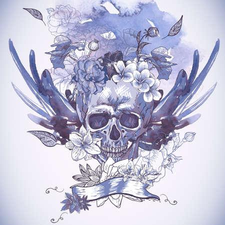 頭蓋骨、翼および花と抽象的な背景