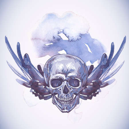 skull and crown: Abstract Background with Skull, Wings and Flowers Illustration
