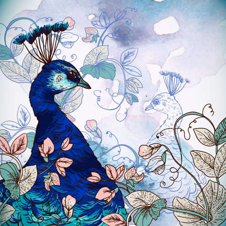 Floral Background with Peacock Vector