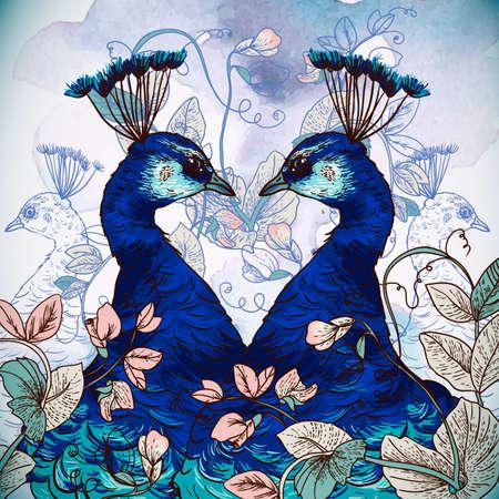 pluma de pavo real: Fondo floral con pavo real
