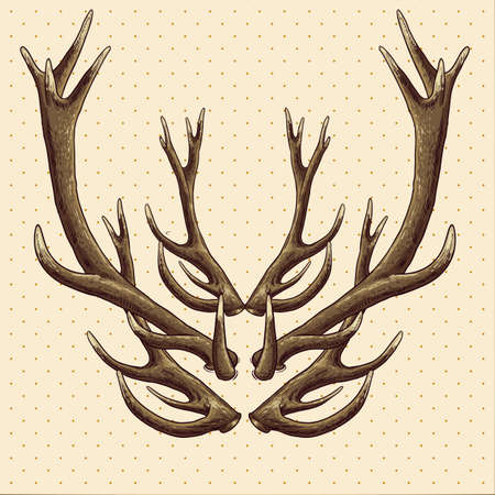 Hipster vintage background with deer antlers