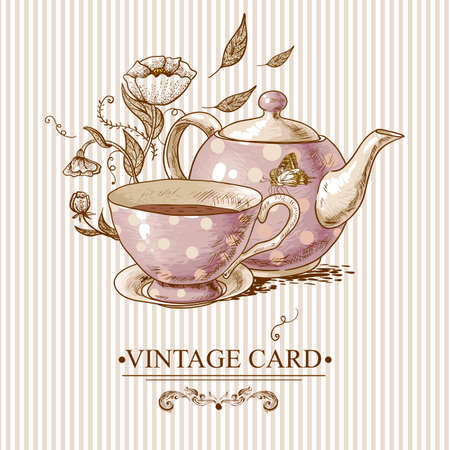 pot: Invitation Vintage Card with a Cup of Tea or Coffee, Pot, Flowers and Butterfly. Illustration