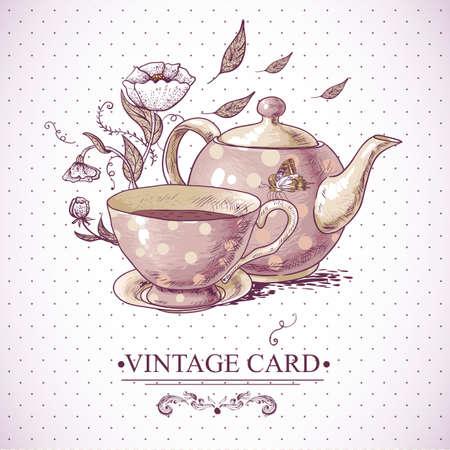 tasse caf�: Carte d'invitation de cru avec une tasse de th� ou de caf�, pot, fleurs et papillons.