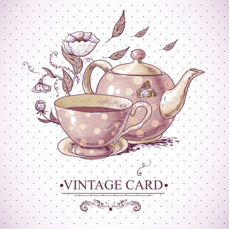 animal time: Invitation Vintage Card with a Cup of Tea or Coffee, Pot, Flowers and Butterfly. Illustration