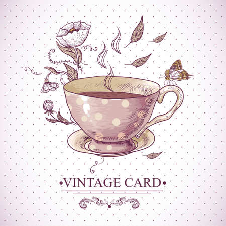 Invitation Vintage Card with a Cup of Tea or Coffee, Flowers and Butterfly. Vector