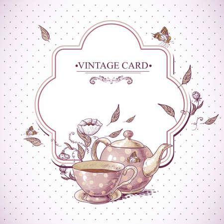 Convite do vintage com uma chávena de chá ou café, potenciômetro, flores e borboleta.