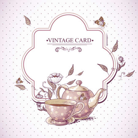 drink party: Invitation card vintage con una tazza di t� o caff�, Pot, fiori e farfalle. Vettoriali
