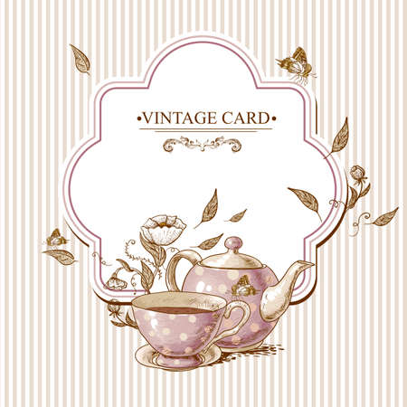 dinner party: Invitation Vintage Card with a Cup of Tea or Coffee, Pot, Flowers and Butterfly. Illustration
