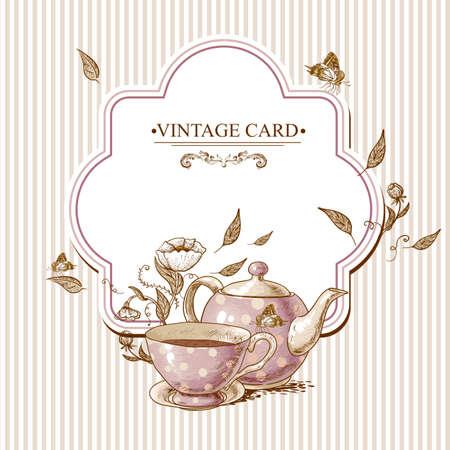 retro art: Uitnodiging vintage kaart met een kopje thee of koffie, Pot, bloemen en vlinder. Stock Illustratie