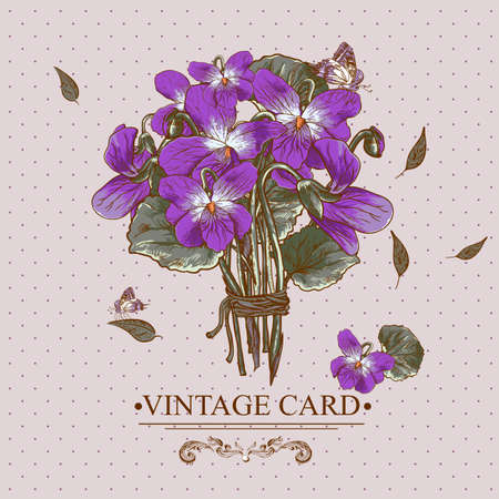 violets: Vintage Floral Card with Violets and Butterflies Vector Design element.