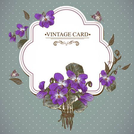 violet flower: Vintage Floral Card with Violets and Butterflies Vector Design element.