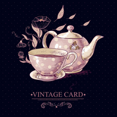 dinner party: Invitation Vintage Card with a Cup of Tea or Coffee, Pot, Flowers and Butterfly. Vector Design element.