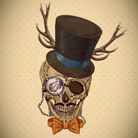 Hipster skull vintage background. Invitation Card Design. Design element. Vector