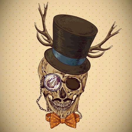 bowler hat: Hipster skull vintage background. Invitation Card Design. Design element.