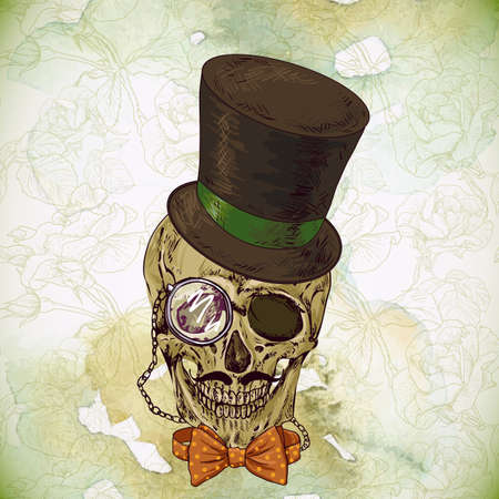 bowler hat: Hipster skull vintage background. Invitation Card Design. Design element.