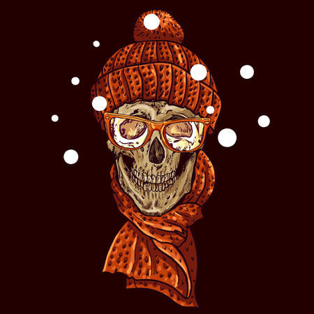 Vintage Card with Christmas Hipster Skull. Winter vector illustration Vector