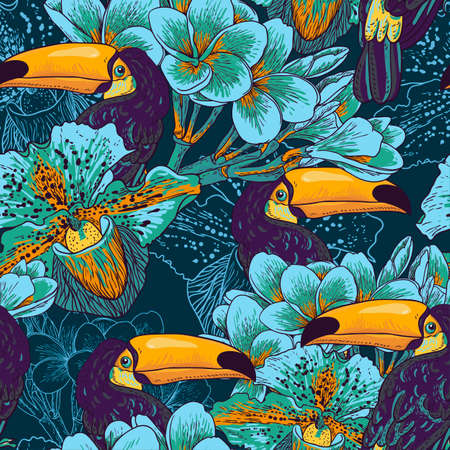 Tropical seamless background with exotic flowers and Toucan. Vector illustration