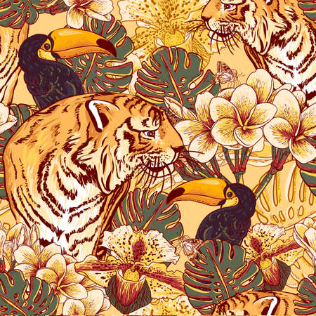 이국적인 꽃과 큰 부리 새와 호랑이와 열대 원활한 배경