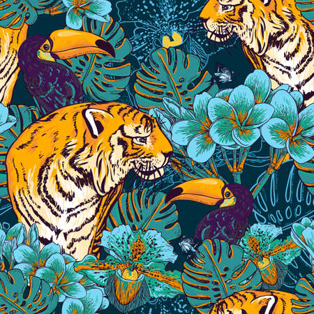 Tropical seamless background with exotic flowers and Toucan and Tiger Ilustração