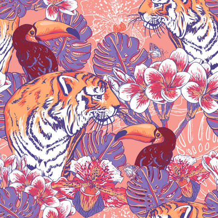 Tropical seamless background with exotic flowers and Toucan and Tiger Illusztráció