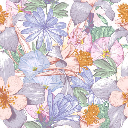 Summer seamless pattern with wildflowers. Beautiful floral bouquet. Vector
