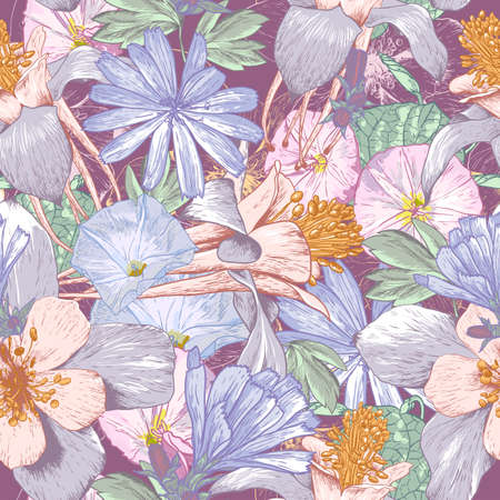 botanical gardens: Summer seamless pattern with wildflowers. Beautiful floral bouquet.