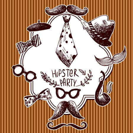 Hand Drawn Hipster Seamless Background in Vintage style Vector